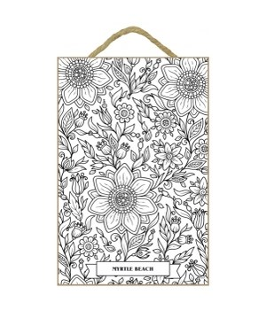 Jacobean Floral Coloring Plaque 7x10.5""
