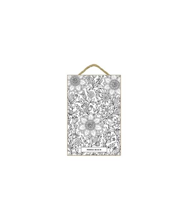 """Jacobean Floral Coloring Plaque 7x10.5"""""""