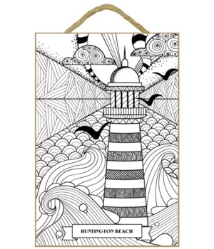 Lighthouse Coloring Wood Plaque 7x10.5