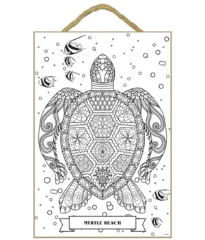 Sea Turtle Coloring Wood Plaque 7x10.5""