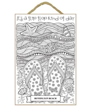 """Flip Flop Day Coloring Plaque 7x10.5"""""""