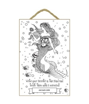 Write your secrets in the sand and trust them with a mermaid (with mermaid)