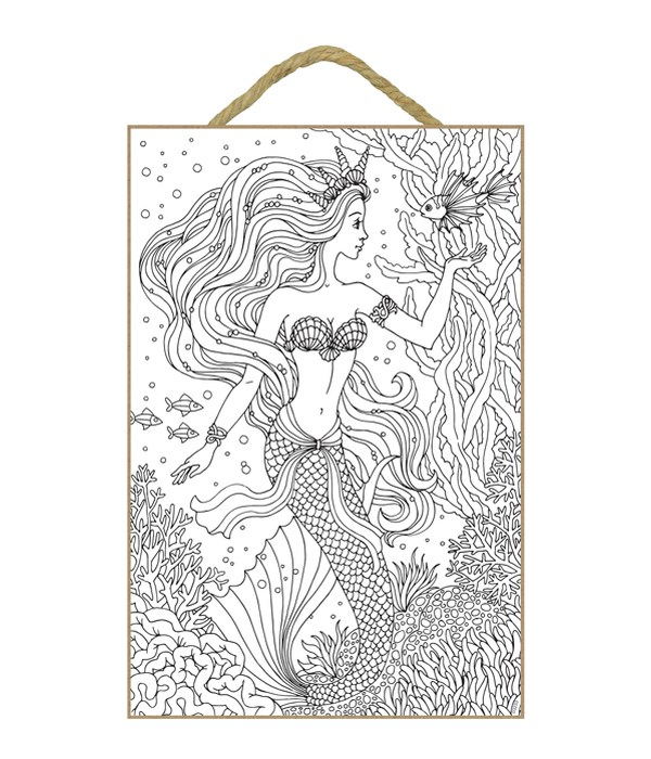 Mermaid with shells for a crown, ribbon around her waist and lion fish floating above her hand