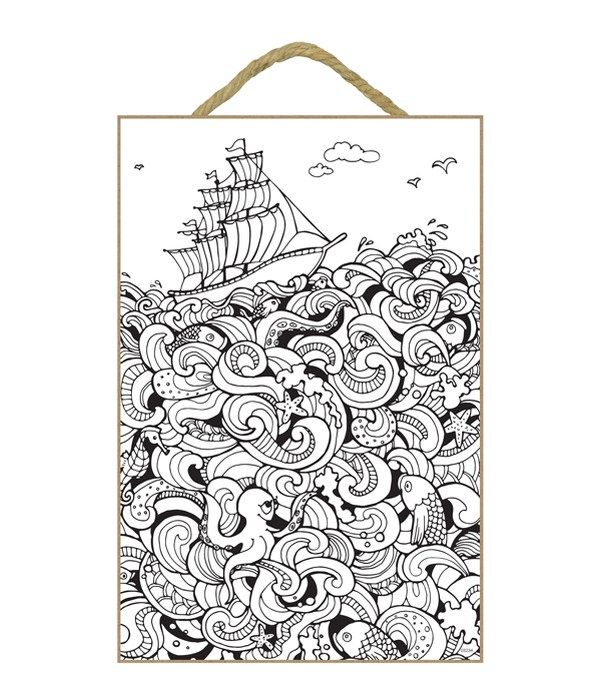 Ship sailing on unique depiction of waves and sea life throughout illustration