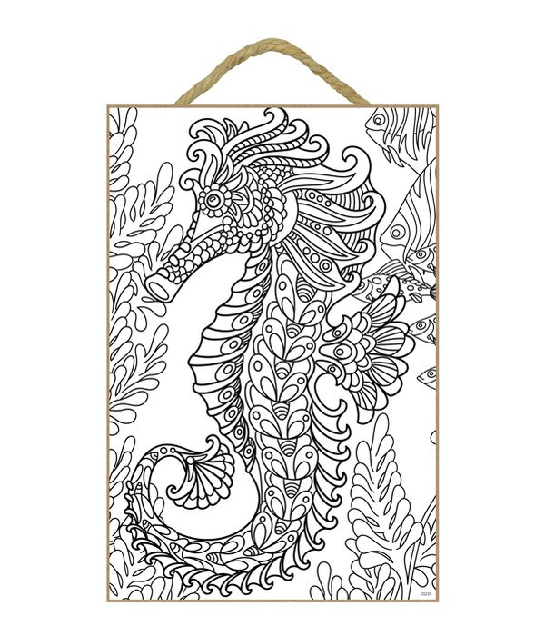 Large seahorse with fish and plants in background