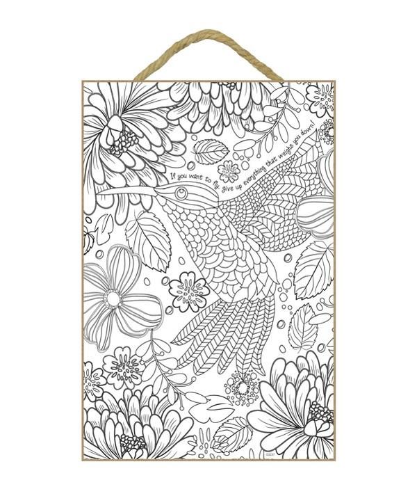 Hummingbird Coloring Wood Plaque 7x10.5