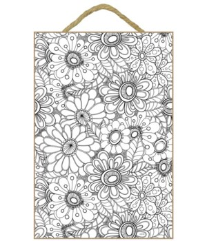 Abstract Daisies Coloring Plaque 7x10.5