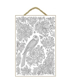 Parrot with flowers and leaf designs around it