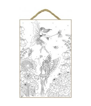 Fairies Coloring Wood Plaque 7x10.5""