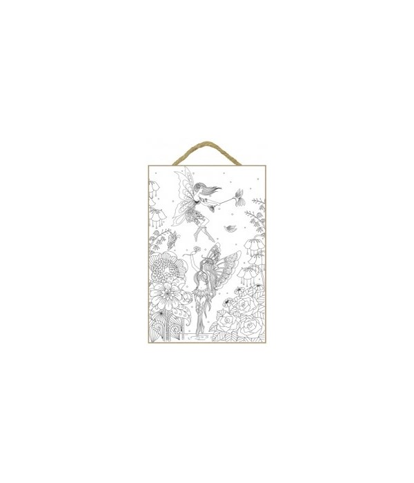"Fairies Coloring Wood Plaque 7x10.5"""
