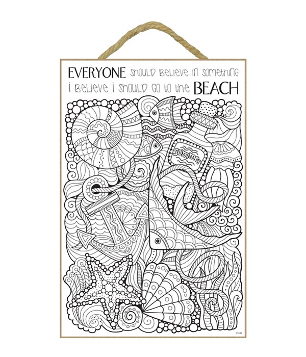 "Beach Theme Coloring Wood Plaque 7x10.5"""