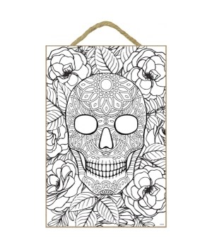 """Skull&Roses Coloring Wood Plaque 7x10.5"""""""