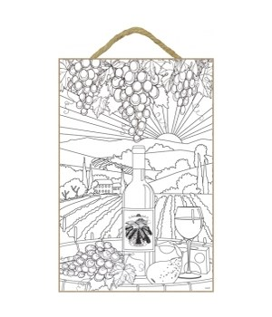 wine bottle and glass, cheese, and grapes on barrel, vineyard in background