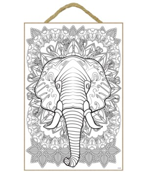 Elephant Hd Coloring Wood Plaque 7x10.5""