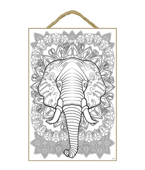 "Elephant Hd Coloring Wood Plaque 7x10.5"""