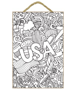 """USA/Sports Coloring Wood Plaque 7x10.5"""""""