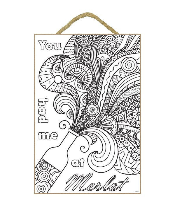 "Merlot Coloring Wood Plaque 7""x10.5"""""