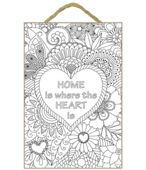 "Home Is Where Coloring 7x10.5"" Plaque"