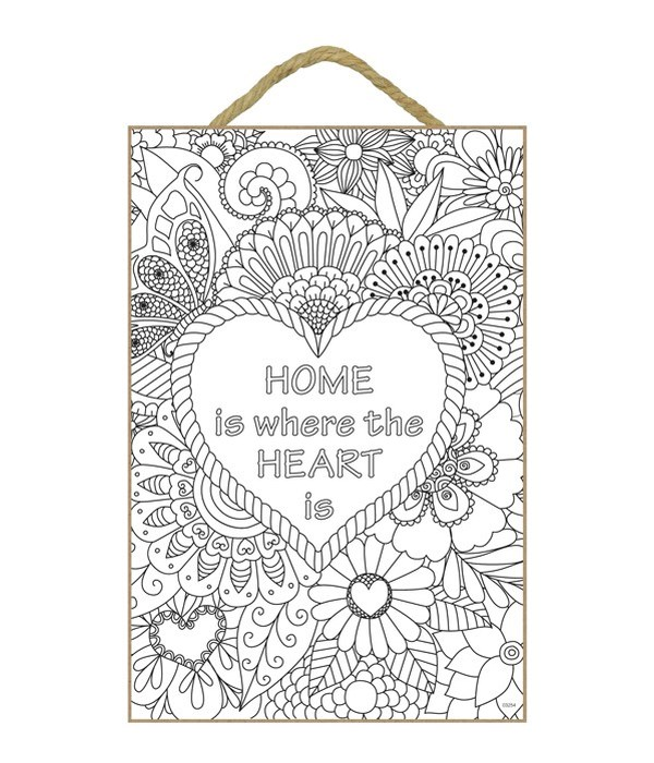 """Home Is Where Coloring 7x10.5"""" Plaque"""