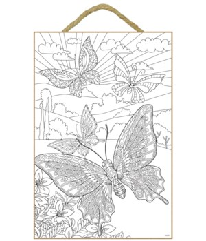 "Butterflies Coloring Wood Plaq 7""x10.5"""""