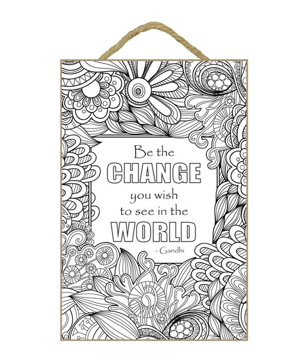 """Change The World Coloring Plaque 7x10.5"""""""