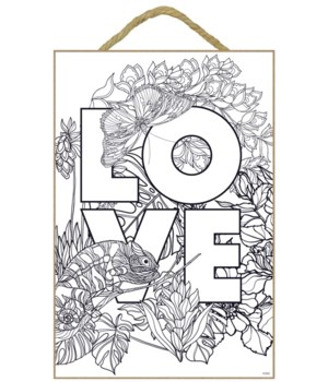 LOVE Coloring Wood Plaque 7x10.5""
