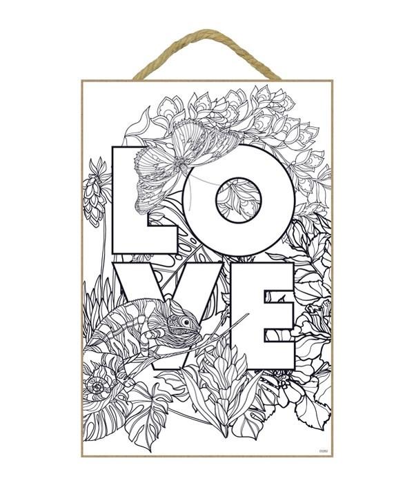 "LOVE Coloring Wood Plaque 7x10.5"""