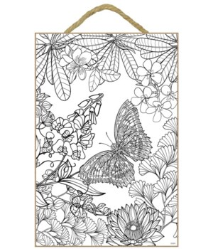 Butterfly Coloring Wood Plaque 7x10.5""