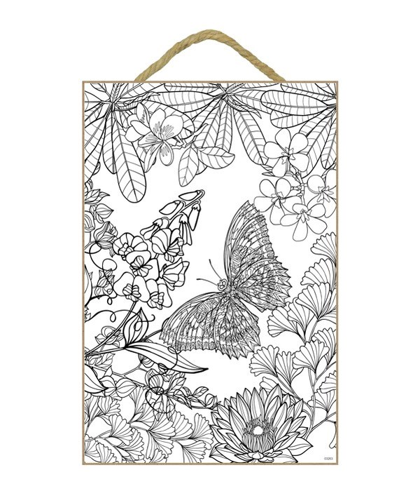 """Butterfly Coloring Wood Plaque 7x10.5"""""""