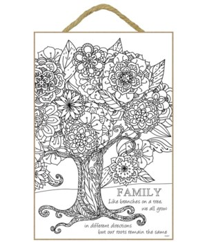 "Family Coloring Wood Plaque 7""x10.5"""""