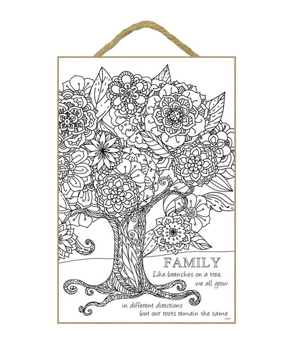 """Family Coloring Wood Plaque 7""""x10.5"""""""""""
