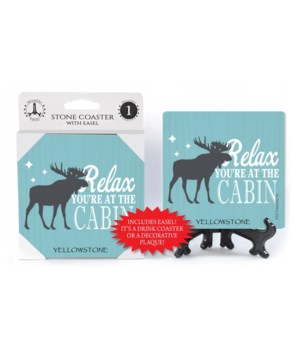 Relax you're at cabin (moose) coaster 1p