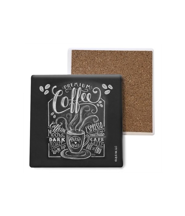 Coffee (black with white lettering) coas
