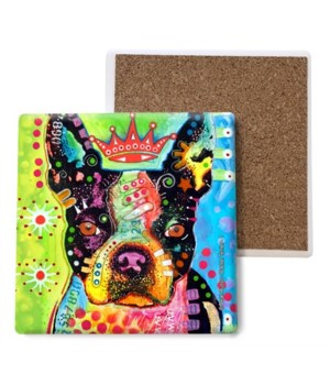 Boston Terrier - 3 - Crowned coaster bul