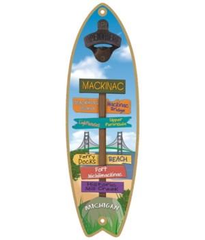 Mackinac Bridge signs sufboard BO
