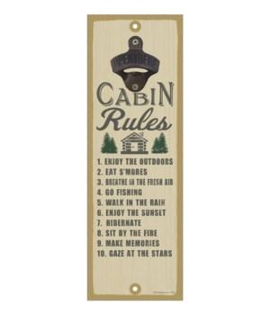 """Cabin Rules 5""""x15"""" Bottle Opener"""