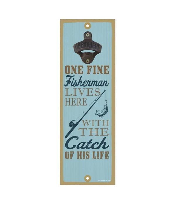 One fine fisherman lives here with the catch of his life (fishing rod & fish image)