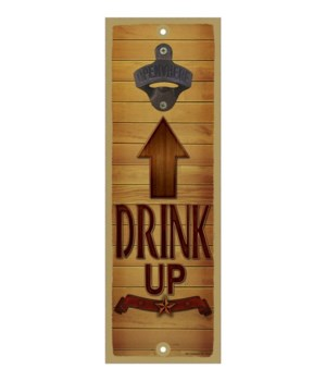 Drink up - Brown wooden arrow facing tow