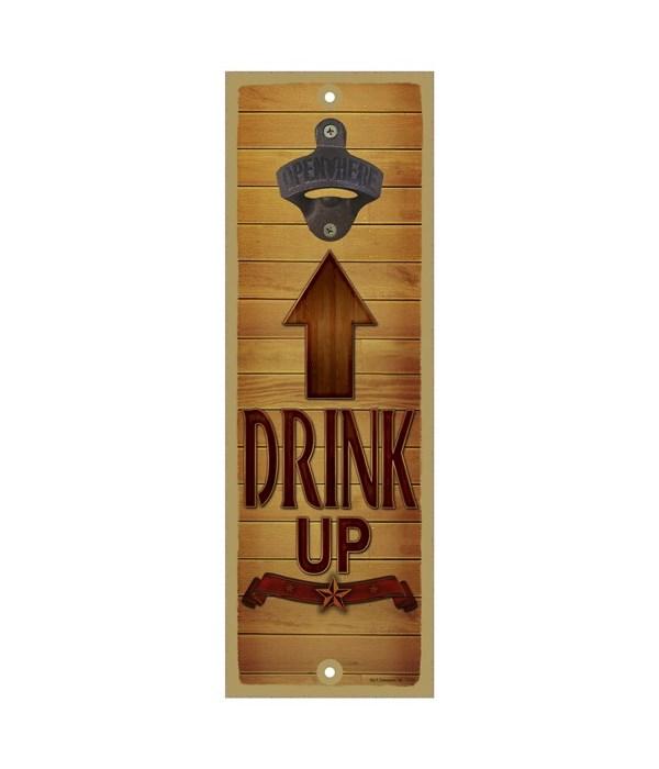 Drink up - Brown wooden arrow facing tow