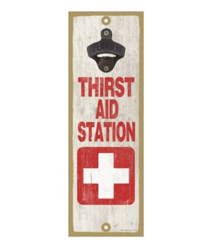 Thirst aid station - White cross with re