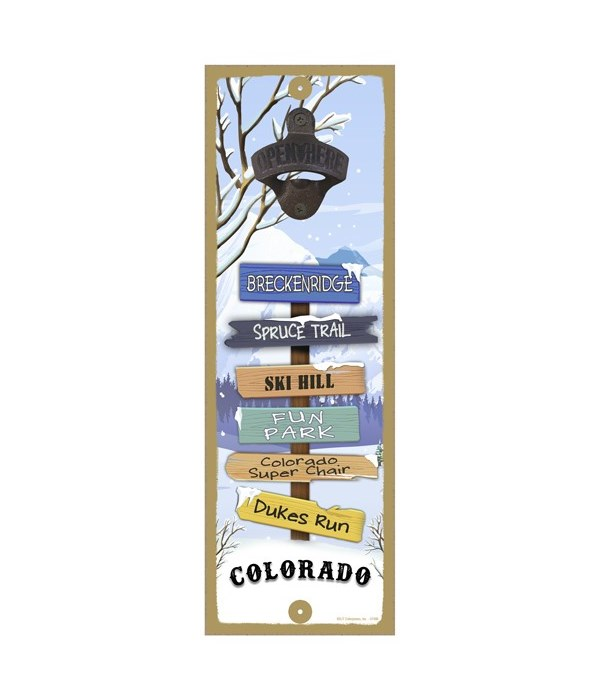 Snow Mountains 5x15 Bottle opener sign
