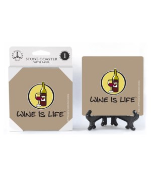 Wine is Life - Logo with wine bottle and