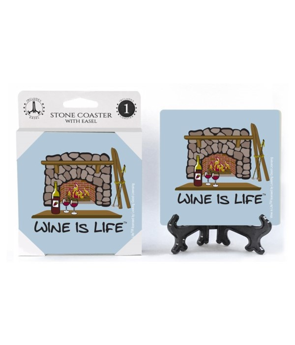 Wine is Life - Ski Lodge - fireplace wit