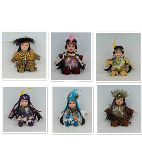 "8"" Porcelain Indian Doll 6/A 12 pc"