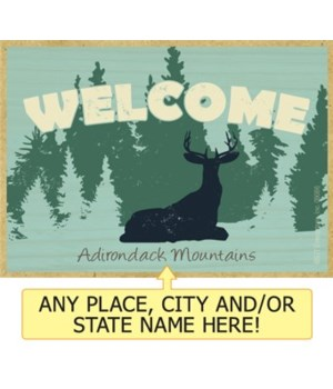 WELCOME (deer silhouette and trees) Magn