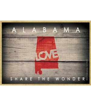 """ALABAMA - State Outline with """"Love"""" and"""