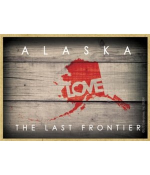 """ALASKA - State Outline with """"Love"""" and S"""