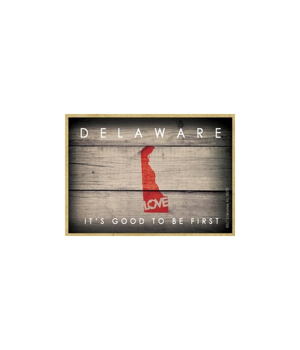 """DELAWARE - State Outline with """"Love"""" and"""