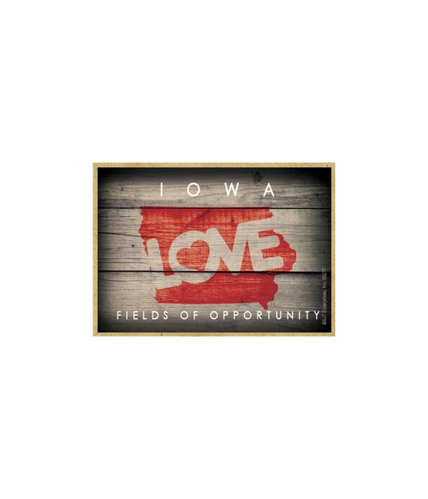 """IOWA - State Outline with """"Love"""" and Sta"""