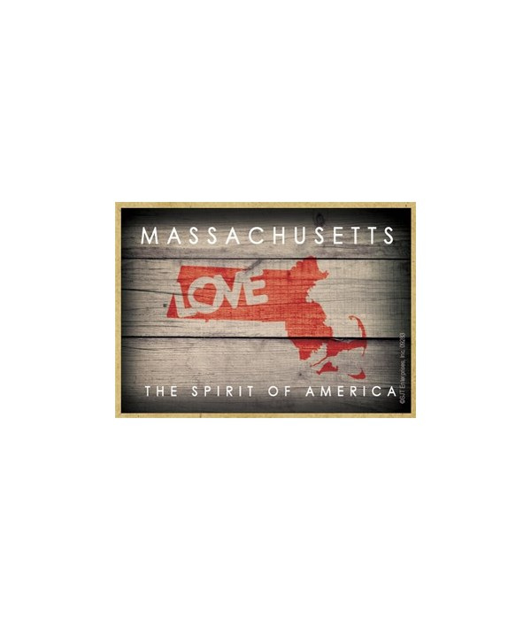 """MASSACHUSETTS - State Outline with """"Love"""